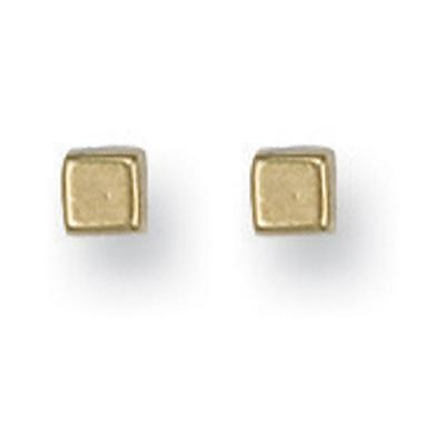 Yellow Gold 4mm Square Cube Studs