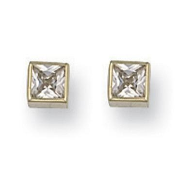 Yellow Gold 5mm Rubover Set Princess Cut Studs
