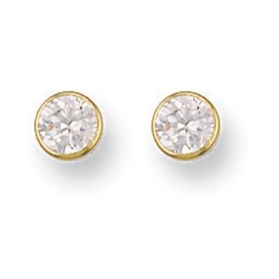 Yellow Gold 6mm Rubover Set Cz Studs