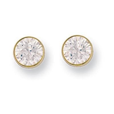 Yellow Gold 7mm Rubover Set Cz Studs