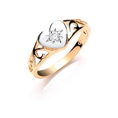 Yellow Gold Baby Cz Heart Signet Ring