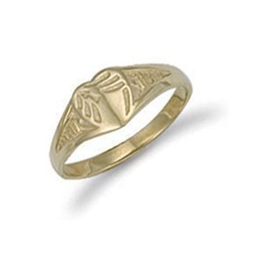 Yellow Gold Baby Engraved Heart Signet Ring