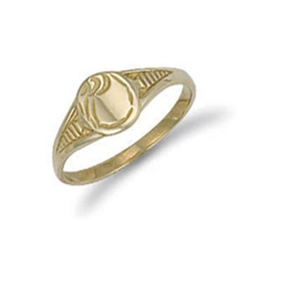 Yellow Gold Baby Engraved Oval Signet Ring