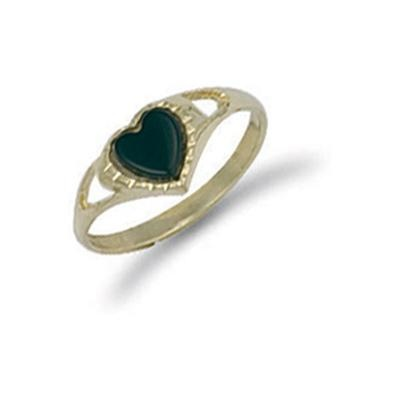 Yellow Gold Baby Heart Onyx Ring