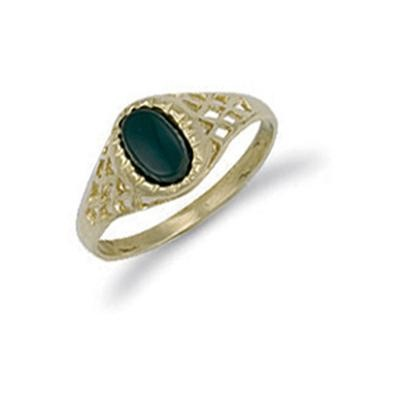 Yellow Gold Baby Oval Onyx Ring