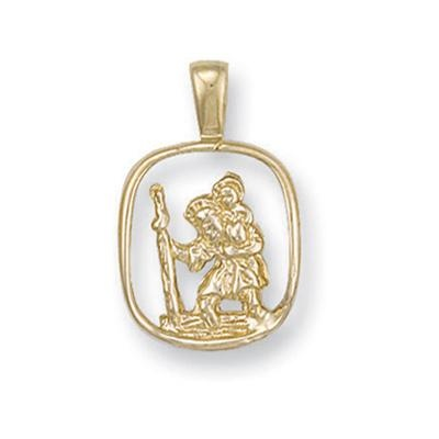 Yellow Gold Cut Out St Christopher Pendant