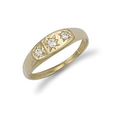 Yellow Gold Cz 3 Stone Baby Gipsy Ring