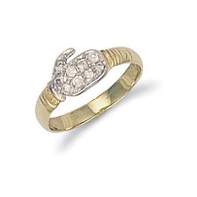 Yellow Gold Cz Baby Boxing Glove Ring