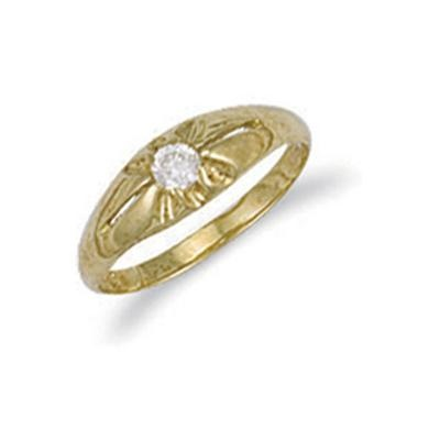 Yellow Gold Cz Baby Gipsy Ring