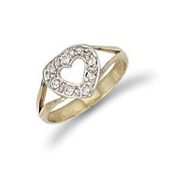 Yellow Gold Cz Heart Baby Ring