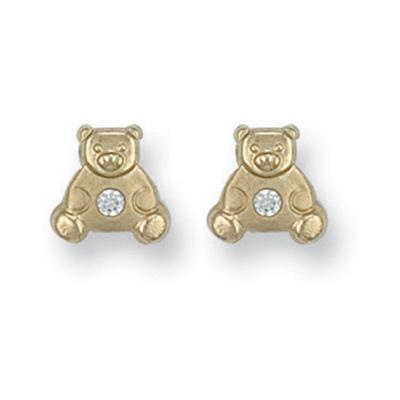 Yellow Gold Cz Teddy Bear Studs