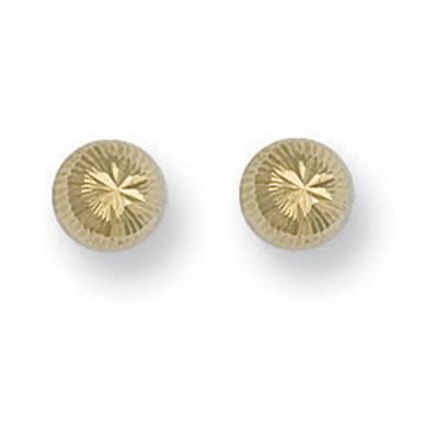 Yellow Gold Diamond Cut Studs