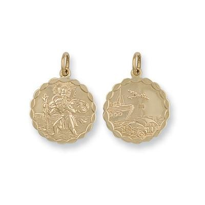 Yellow Gold Double Sided Fancy St Christopher Pendant