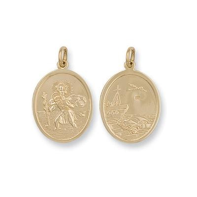Yellow Gold Double Sided Oval Shaped St Christopher Pendant