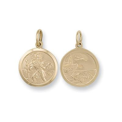 Yellow Gold Double Sided St Christopher Pendant