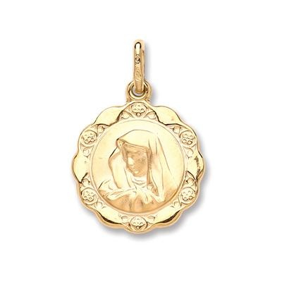Yellow Gold Hollow Madonna Pendant