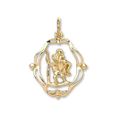 Yellow Gold Oval Fancy Cut Out St Christopher Pendant
