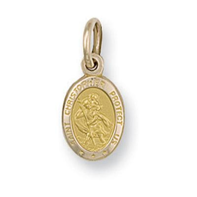 Yellow Gold Oval Shaped St Christopher Pendant