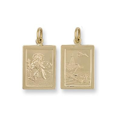 Yellow Gold Rectangular Shaped St Christopher Pendant