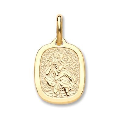 Yellow Gold Rectangular St Christopher Pendant