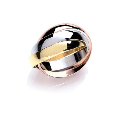 Yellow, White & Rose 4mm Russian Wedding Band